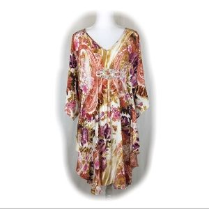 Badgley Mischka Floral Silk Beaded Dress